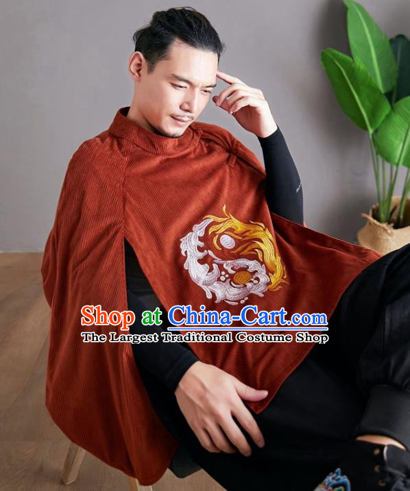 Chinese National Embroidered Red Cloak Traditional Tang Suit Outer Garment Corduroy Coat Costume for Men