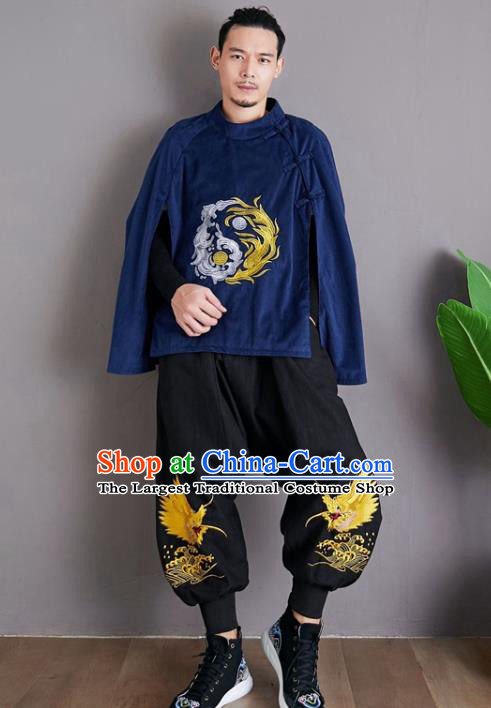 Chinese National Embroidered Royalblue Cloak Traditional Tang Suit Outer Garment Corduroy Coat Costume for Men