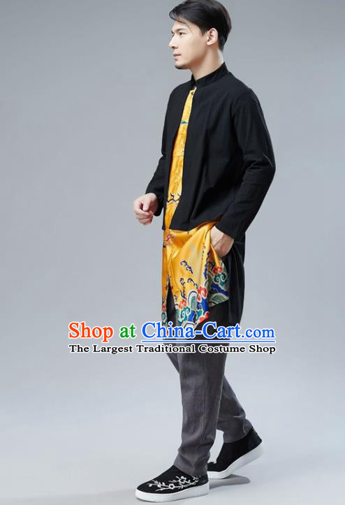 Chinese National Yellow Satin Coat Traditional Tang Suit Outer Garment Overcoat Costume for Men