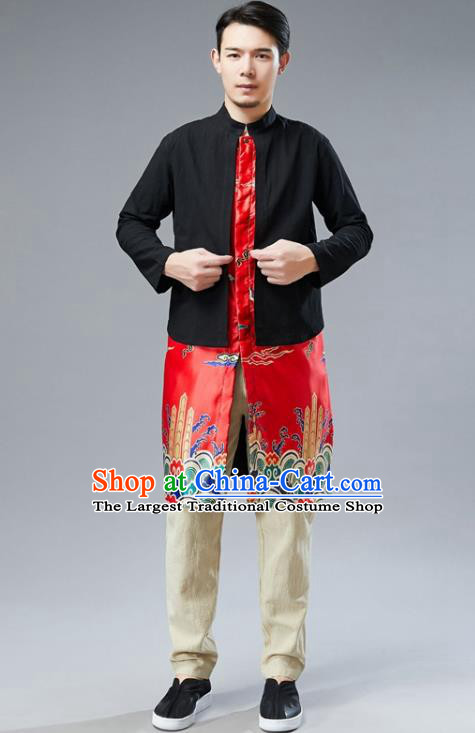 Chinese National Red Satin Coat Traditional Tang Suit Outer Garment Overcoat Costume for Men