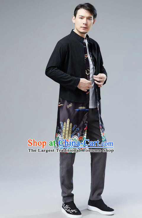 Chinese National Black Satin Coat Traditional Tang Suit Outer Garment Overcoat Costume for Men