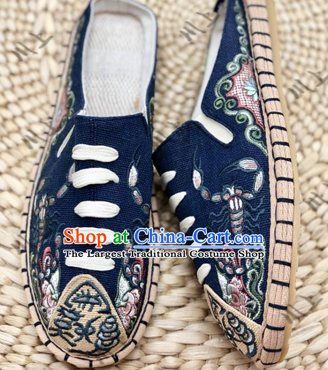 Chinese Traditional National Navy Flax Shoes Martial Arts Shoes Men Shoes Handmade Shoes Embroidered Slippers