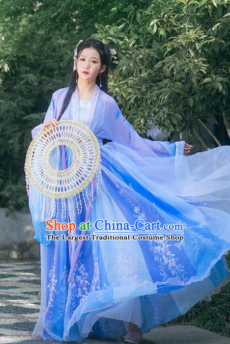 Traditional Chinese Tang Dynasty Royal Princess Costumes Ancient Goddess Purple Hanfu Dress Full Set for Women