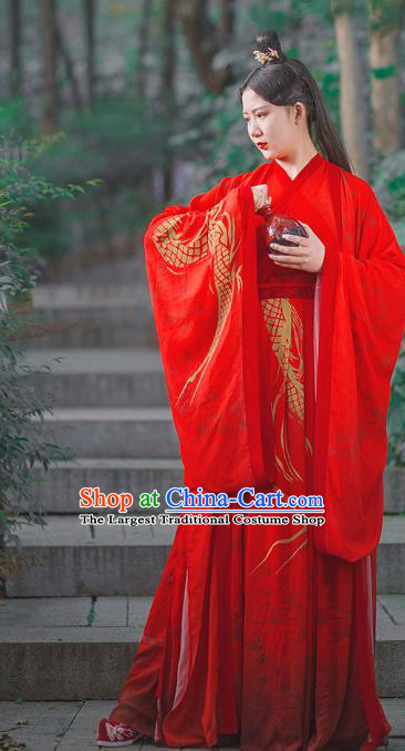 Traditional Chinese Jin Dynasty Noble Childe Wedding Costumes Ancient Swordsman Red Hanfu Clothing Complete Set