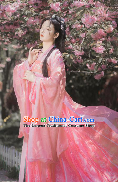 Traditional Chinese Tang Dynasty Princess Costumes Ancient Goddess Pink Hanfu Dress Apparel for Women