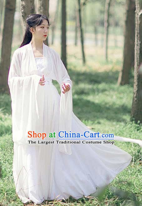 Traditional Chinese Tang Dynasty Female Swordsman Costumes Ancient Goddess White Hanfu Dress Apparel for Women