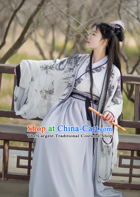 Traditional Chinese Jin Dynasty Heroine Historical Costumes Ancient Female Swordsman Hanfu Dress Apparel Full Set