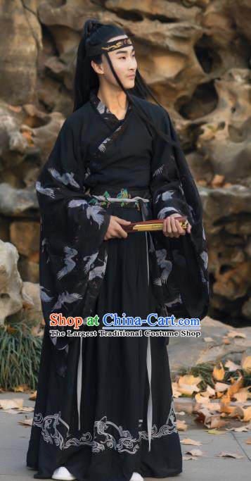 Traditional Chinese Jin Dynasty Scholar Historical Costumes Ancient Noble Childe Swordsman Black Hanfu Apparel for Men