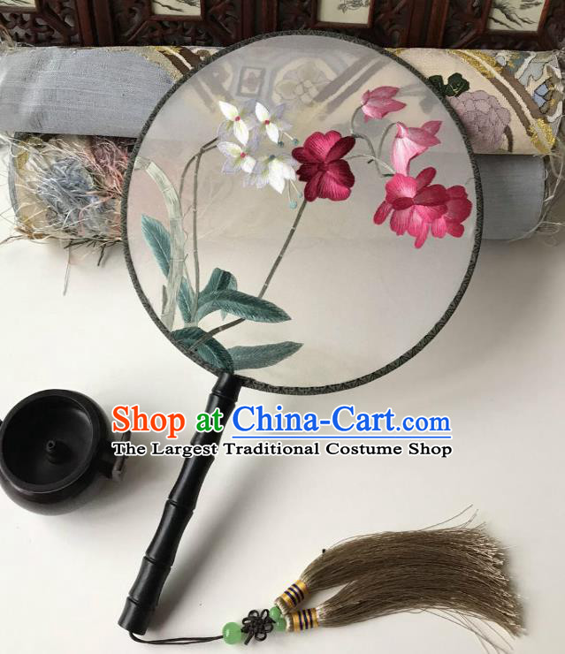 China Handmade Palace Fan Traditional Silk Fan Classical Hanfu Accessories Embroidered Orchid Circular Fan