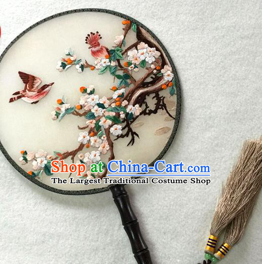 China Traditional Suzhou Embroidered Plum Blossom Palace Fan Handmade Silk Fan Classical Dance Circular Fan