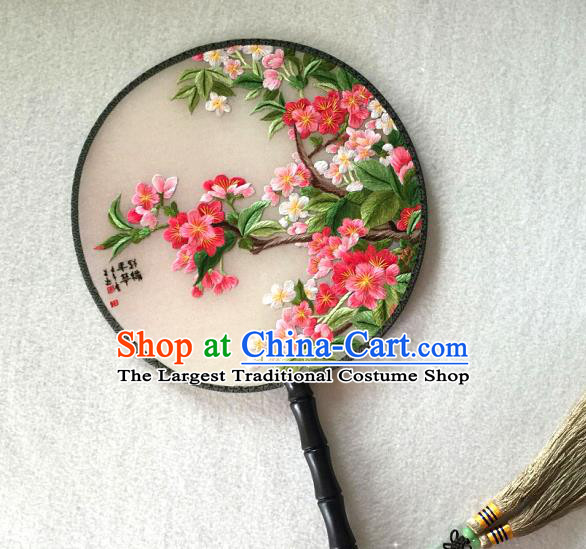 China Handmade Silk Fan Classical Dance Circular Fan Traditional Suzhou Embroidered Peach Blossom Palace Fan
