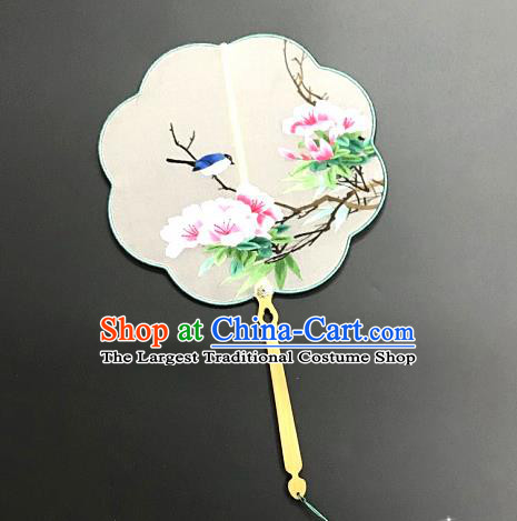 China Handmade Palace Fan Traditional Suzhou Embroidery Hanfu Fan Embroidered Peach Blossom Silk Fan