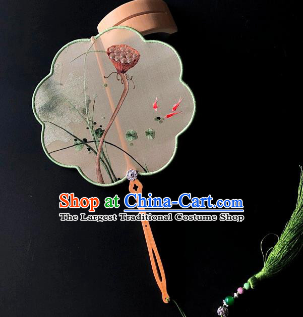 China Suzhou Embroidery Craft Handmade Palace Fan Traditional Hanfu Fan Embroidered Lotus Seedpod Silk Fan