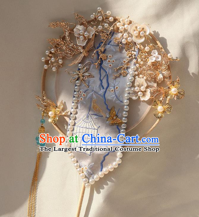 China Traditional Bride Golden Plum Fan Classical Dance Circular Fan Handmade Wedding Embroidered Palace Fan
