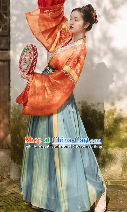 China Ancient Royal Princess Hanfu Dress Traditional Jin Dynasty Palace Lady Historical Clothing Full Set