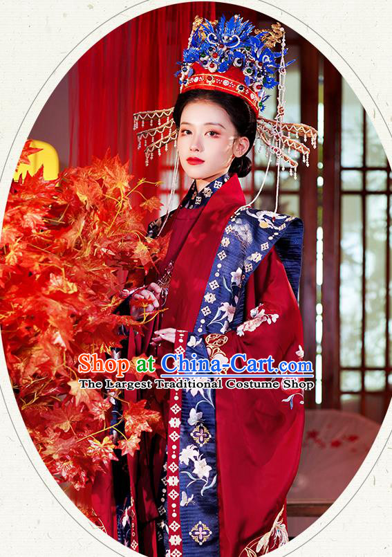 China Traditional Ming Dynasty Wedding Historical Clothing Ancient Noble Woman Red Hanfu Dress Full Set