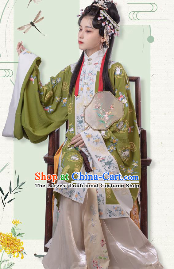 Traditional China Ming Dynasty Patrician Lady Historical Clothing Ancient Young Beauty Embroidered Hanfu Costumes