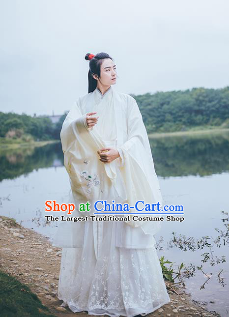 Traditional China Jin Dynasty Childe Historical Hanfu Clothing Ancient Swordsman Embroidered Costume for Men