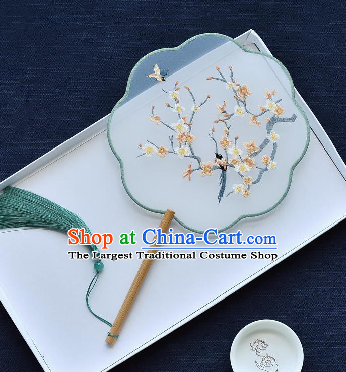 China Classical Dance Fan Traditional Embroidered Plum Blossom Silk Fan Handmade Palace Fan