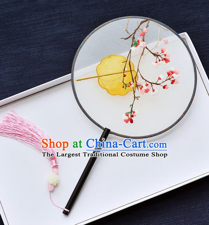 China Handmade Palace Fan Classical Dance Ebony Circular Fan Traditional Embroidered Begonia Silk Fan