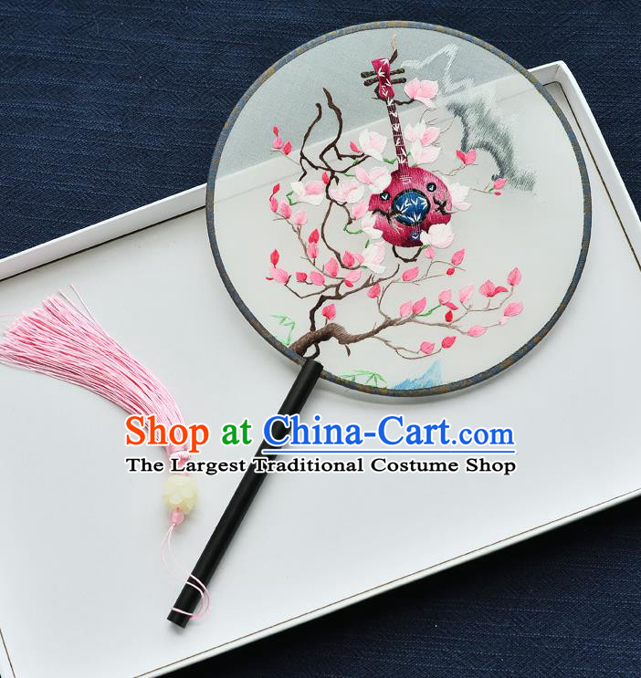 China Handmade Ebony Palace Fan Classical Dance Circular Fan Traditional Embroidered Lute Silk Fan