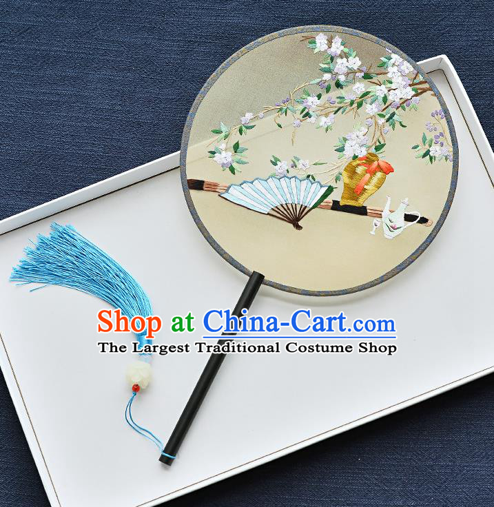China Classical Dance Circular Fan Handmade Ebony Palace Fan Traditional Embroidered Pear Blossom Yellow Silk Fan