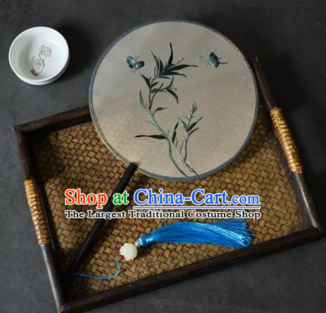 China Handmade Ebony Fan Classical Dance Silk Circular Fan Traditional Suzhou Embroidered Grass Butterfly Palace Fan