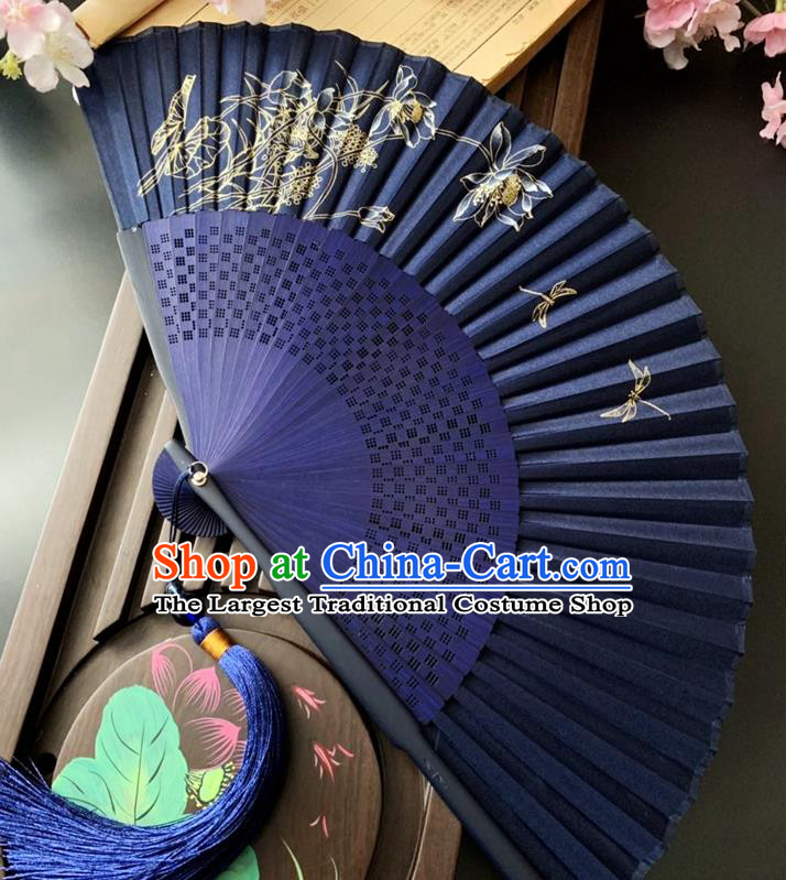 Chinese Printing Dragonfly Lotus Folding Fan Handmade Bamboo Fan Classical Dance Royalblue Silk Accordion