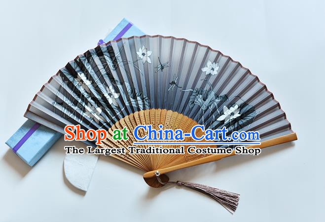 Handmade Chinese Printing Lotus Dragonfly Folding Fan Grey Silk Fans Classical Dance Accordion