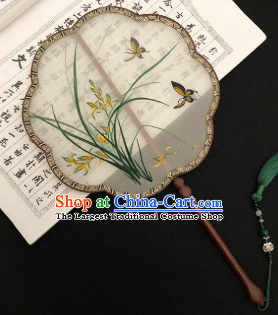 China Classical Dance Silk Fans Handmade Palace Fan Traditional Hanfu Fan Embroidered Orchids Butterfly Fan