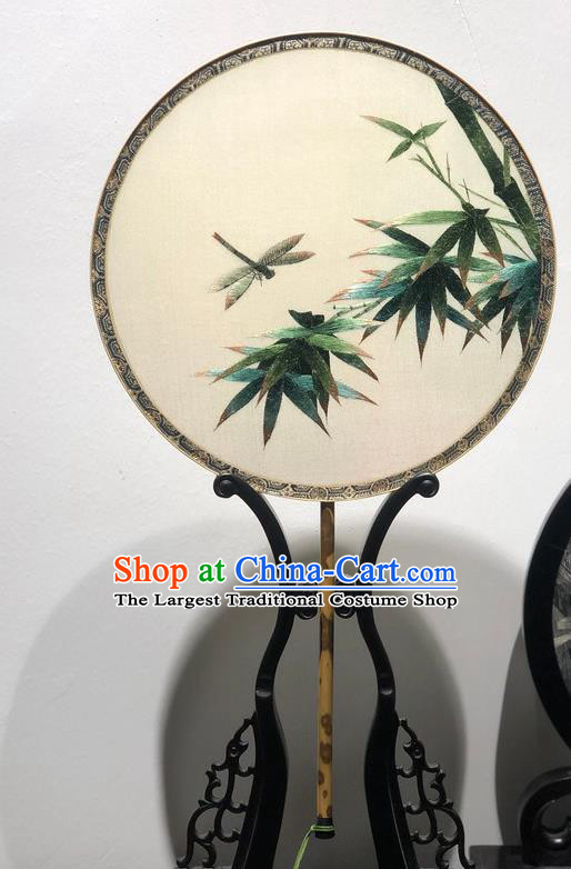 China Embroidered Bamboo Dragonfly Fan Classical Dance Silk Fans Handmade Palace Fan Traditional Hanfu Circular Fan