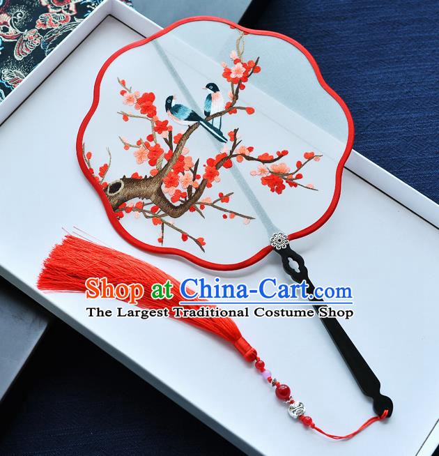 China Classical Dance Fan Traditional Embroidered Red Plum Blossom Palace Fan Handmade Silk Fan