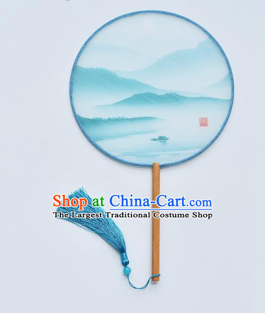 China Classical Dance Blue Silk Fan Traditional Printing Palace Fan Handmade Beech Fan