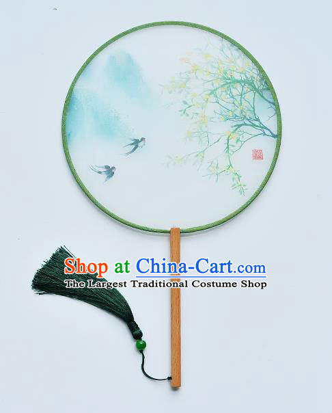 China Handmade Beech Fan Classical Dance Light Green Silk Fan Traditional Printing Swallow Palace Fan