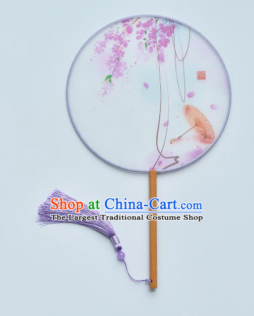 China Traditional Printing Purple Flowers Palace Fan Handmade Beech Fan Classical Dance Silk Fan