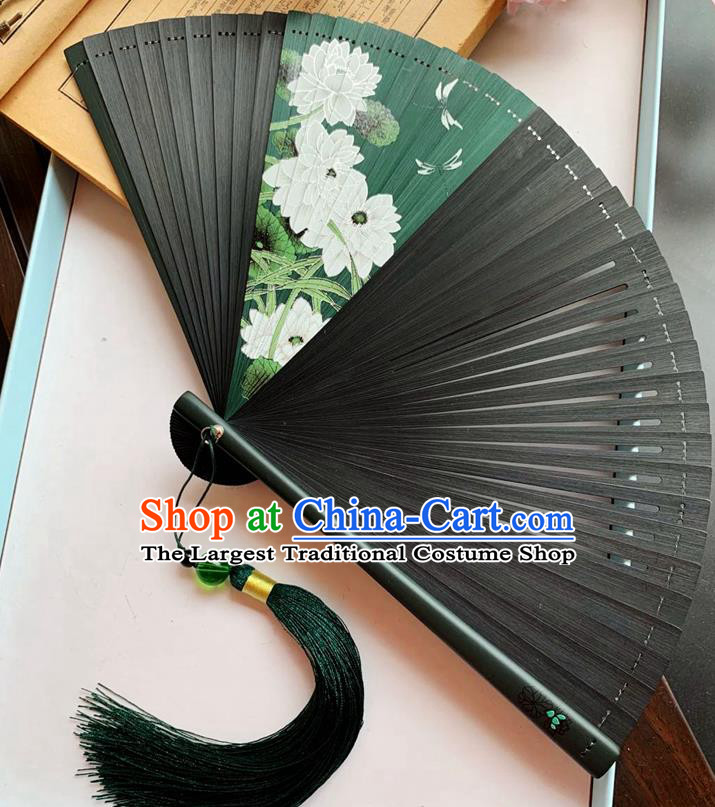 Chinese Classical Folding Fan Black Bamboo Fan Handmade Printing Lotus Dragonfly Accordion