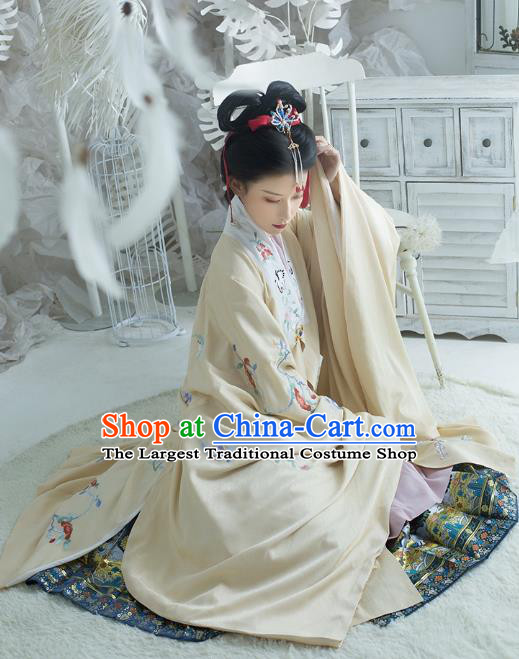 Traditional China Ming Dynasty Noble Lady Historical Clothing Ancient Patrician Beauty Hanfu Apricot Embroidered Cloak