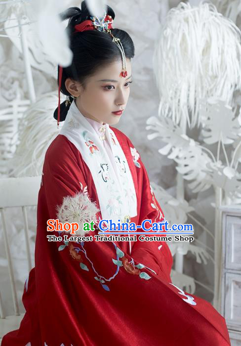 China Ancient Royal Mistress Hanfu Apparel Traditional Ming Dynasty Noble Countess Historical Clothing Embroidered Red Cape