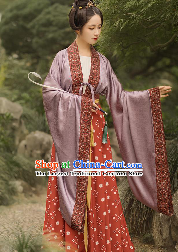 China Ancient Southern and Northern Dynasties Hanfu Apparel Traditional Court Maid Historical Clothing