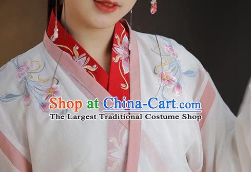 China Traditional Jin Dynasty Palace Lady Historical Clothing Ancient Young Beauty Hanfu Dress Costume