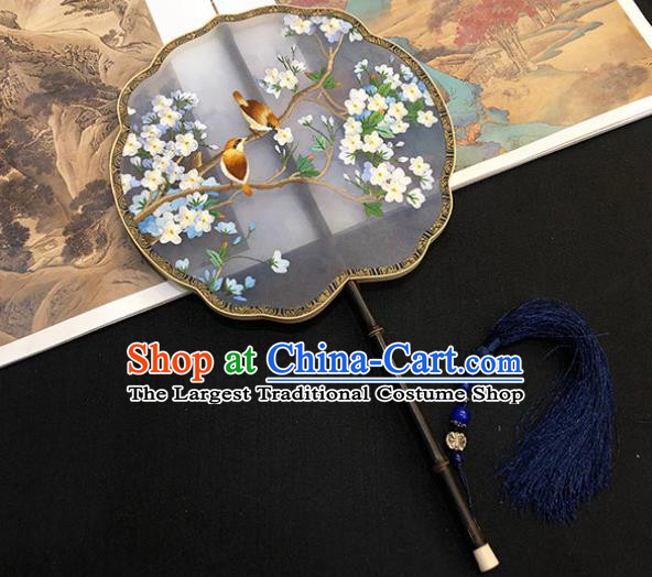 China Handmade Embroidered Pear Blossom Palace Fan Traditional Silk Fan Hanfu Fan Classical Dance Fan