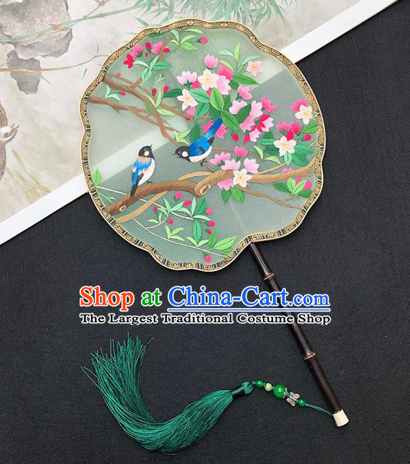 China Classical Dance Fan Handmade Embroidered Peach Blossom Palace Fan Traditional Silk Fan Hanfu Fan
