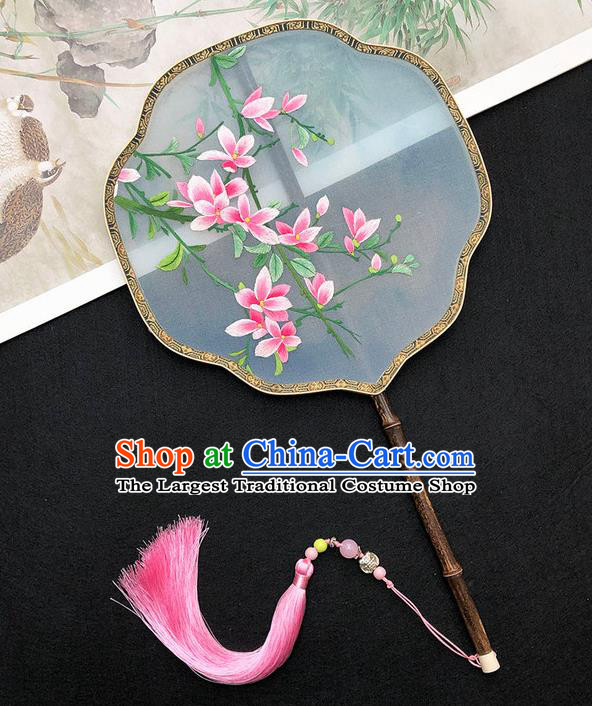 China Hanfu Fan Classical Dance Fan Handmade Embroidered Peach Blossom Palace Fan Traditional Silk Fan