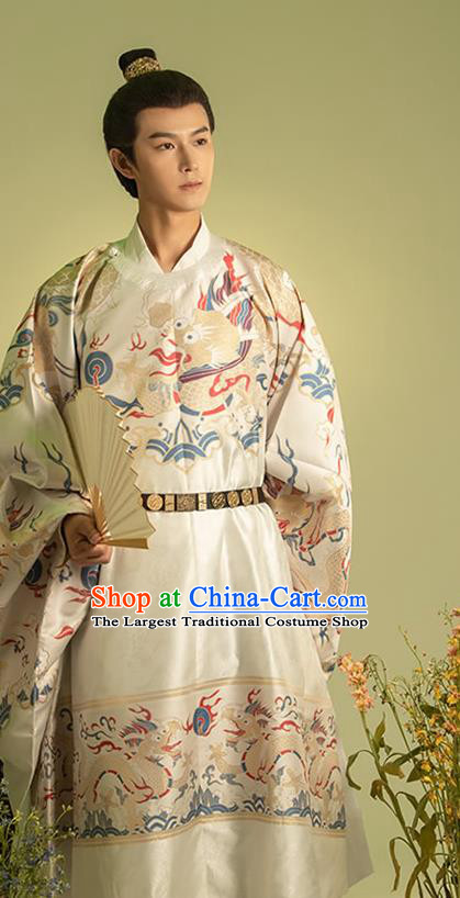 Traditional China Ming Dynasty Emperor Historical Costumes Ancient Crown Prince Imperial Robe Hanfu Clothing for Men