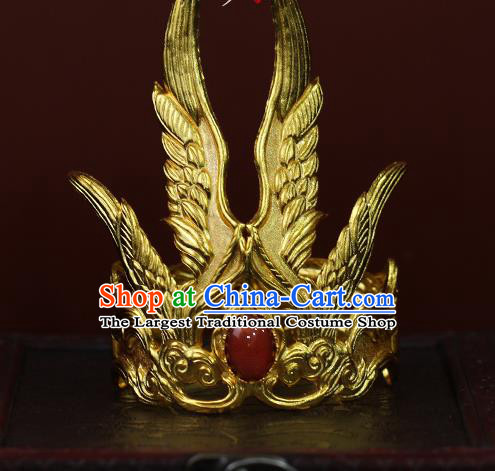 China Ancient Prince Agate Hair Accessories Traditional Tang Dynasty Emperor Golden Hairdo Crown