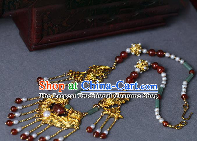 Chinese Traditional Wedding Jade Pearls Necklace Ancient Princess Agate Tassel Necklet Accessories
