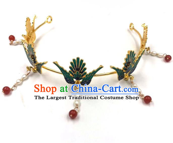 China Ming Dynasty Hair Accessories Traditional Hanfu Pearls Tassel Hairpin Ancient Princess Phoenix Hair Crown
