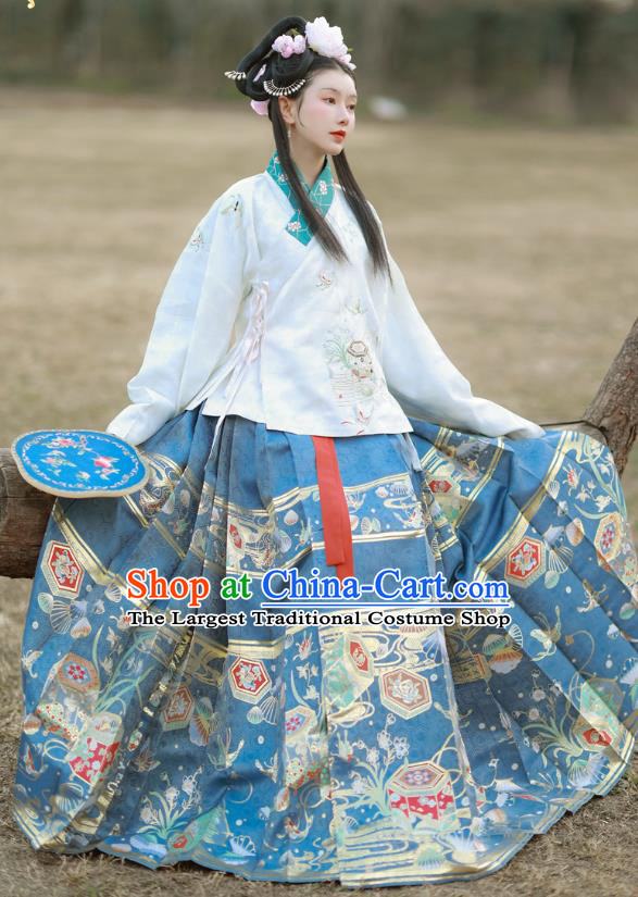 China Traditional Ming Dynasty Patrician Lady Historical Clothing Ancient Young Beauty Embroidered Costumes