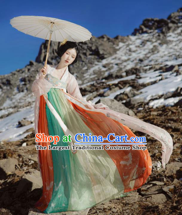 China Ancient Young Beauty Embroidered Hanfu Dress Traditional Tang Dynasty Palace Lady Historical Clothing