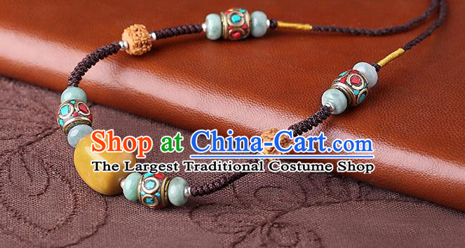 China Classical Buddhism Beads Necklace Traditional Cheongsam Necklet Accessories